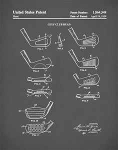 Golf Patent Print, Golf Club Faces, Golf Club Art, Office Wall Decor, P432
