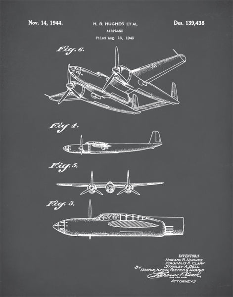 Airplane Patent Print, Lockheed XP-58 Chain Lightning Poster, World War 2 Poster, Airplane Decor, P315