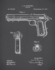J.M. Browning Firearm Patent Prints,  J.M. Browning Firearm Poster, Firearm Art, P135