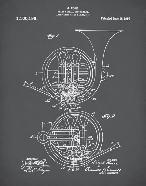 French Horn Patent Print, French Horn 1914 Poster, Music Room Decor, Musical, P322