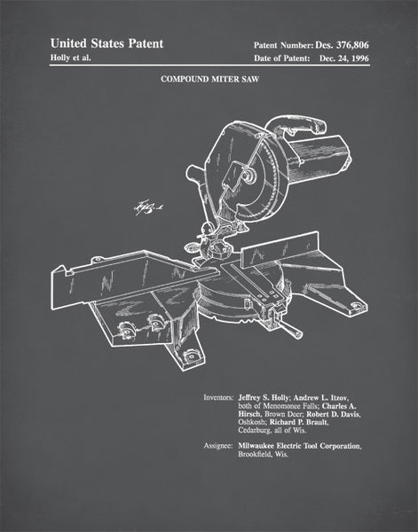 Compound Miter Saw Patent Poster, Woodworking Tools, Handyman, Carpenter's Tool P409