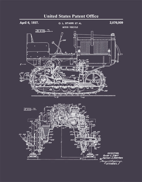 Patent Print Bulldozer, Caterpillar Motor Vehicle, Patent Poster, Heavy Construction Equipment, P498