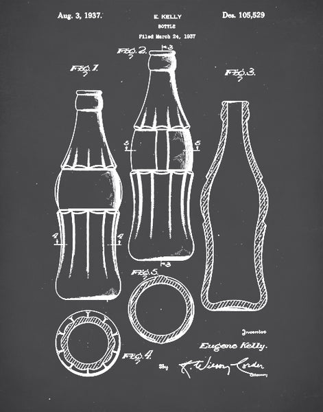 Coca-Cola Bottle Patent, Coke Bottle Poster, Coke Patent Art, Coke Bottle Wall Art, P64