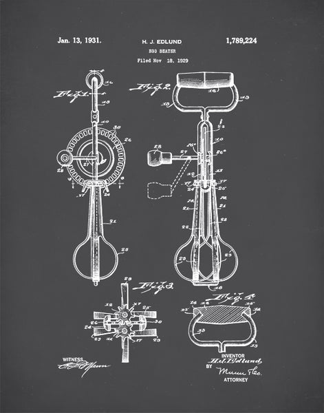 Egg Beater Patent Print, Egg Beater Poster, Egg Beater Art, Kitchen Decor, P65