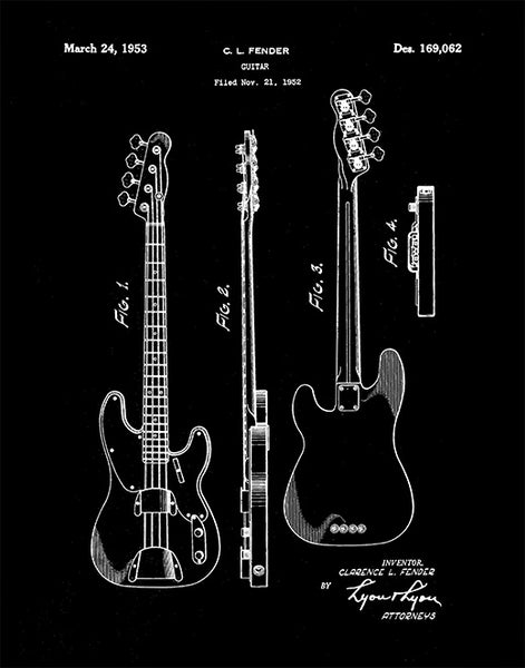 Fender Bass Guitar Patent Print, Fender Bass Guitar Art, Bass Guitar Print, P150