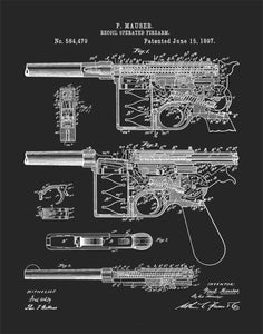 Mauser C96 Pistol Patent Print, WW2 Weapons, Historical Handgun Wall Art, P638