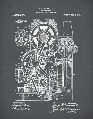 Printing Press Patent Poster, Office Art, Industrial Art, Book Lover, Writer's Gift, P399