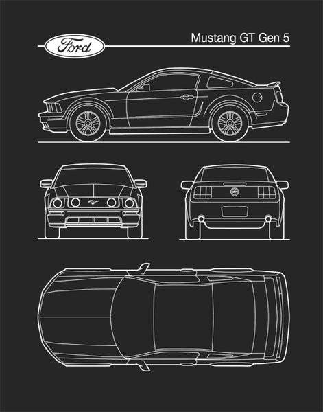 Ford Mustang Gen 5, Auto Art, Patent Print, Car Art, Ford Mustang Art,  P636