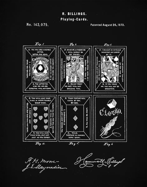 Playing Cards Patent Prints, Tarot Cards Art, Psychic Wall Art, Fortune Teller Cards, P87