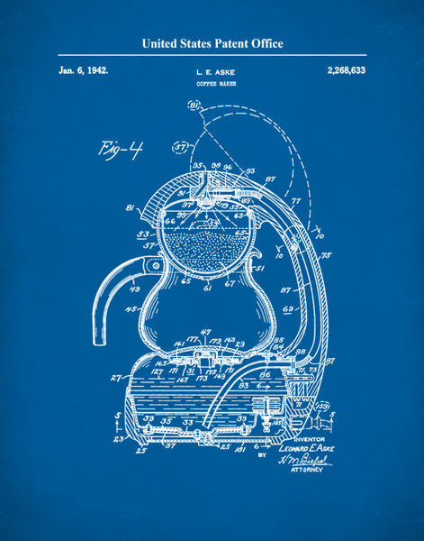 Coffee Maker Patent Print, Coffee Maker Art 1942, P639