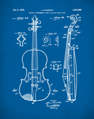 Viola Patent Patent Prints, Music Art, Musical Instrument Patent Art, P431