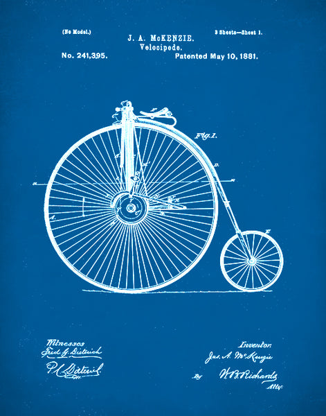 Velocipede Patent Print, Vintage Bicycle, Velocipede Poster,  Bicycle Art, P98