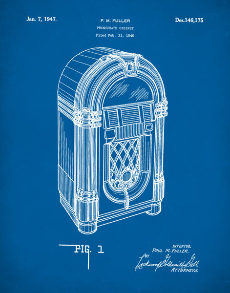 Jukebox Patent Print, Wurlitzer Model 1015, Music Decor, 50s Decor, Music Wall Art, P251