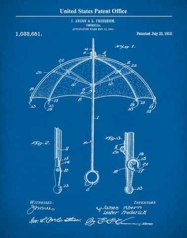 Umbrella Patent Print, Folding Umbrella, Vintage Umbrella, Umbrella, Rainy Day Art, P506