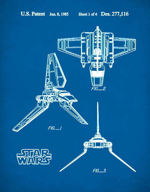 Star Wars Imperial Shuttle Patent Poster, Patent Print, Imperial Shuttle Art, P102