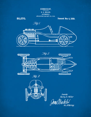 Auto Art, Miller Race Car Patent Poster, Race Car Poster, Teen Room Decor, P420