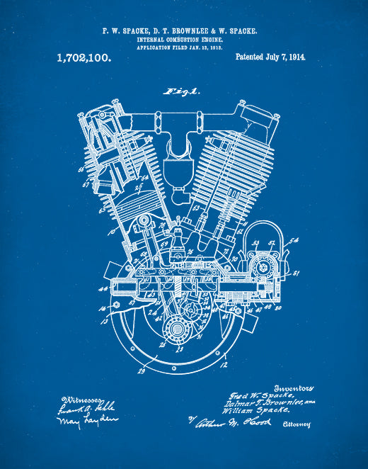Spacke Engine Patent Print, Internal Combustion Engine Patent, Motorcycle Engine Art, P140