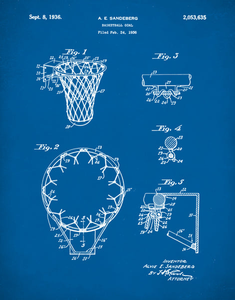 Basketball Hoop Patent Print, Basketball Coach Gift, Basketball Art, P357