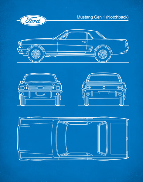 Ford Mustang Gen 1 Notchback, Auto Art, Patent Print, Ford Mustang Art, P564