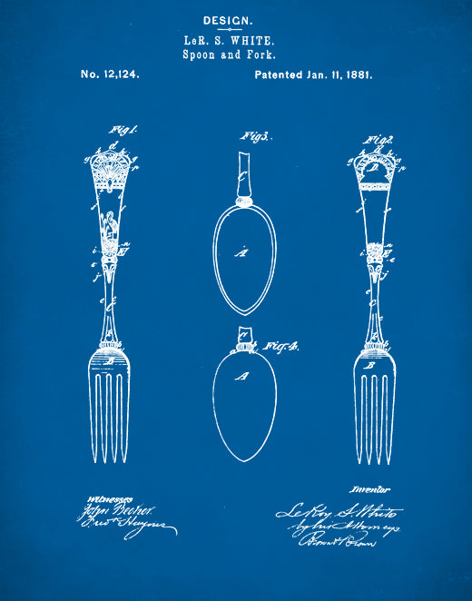 Dinner Fork Patent Print, Dinner Fork Poster, Dinner Fork Art, Kitchen Decor P67