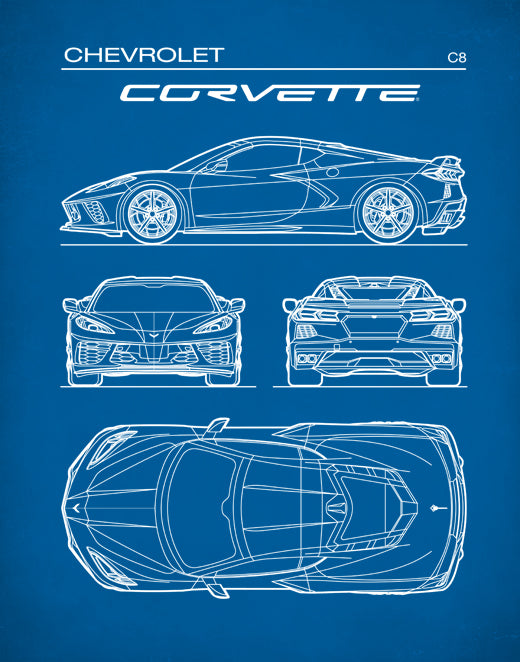Chevrolet Corvette C8, Gen 8 poster, Car Art,  Chevrolet Corvette Art, P644
