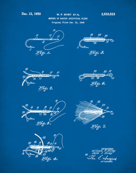 Fly Fishing Patent Prints, Patent Poster, Fisherman Gift, P406