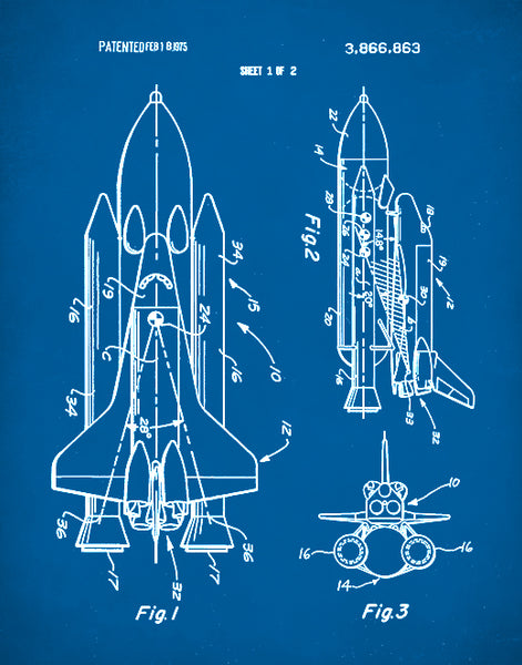 Space Shuttle Patent Print, NASA Space Shuttle Poster, Space Shuttle Art, P103