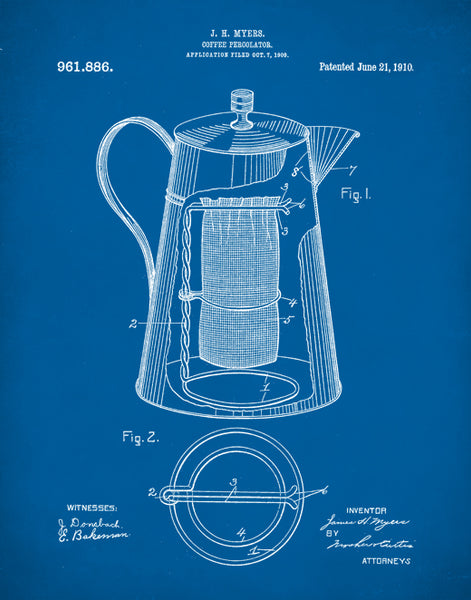 Coffee Percolator 1910 Patent Patent, Coffee Shop Decor, Kitchen Wall Art, P289