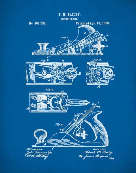 Bench Plane Patent Prints, Patent Poster, Tool Art, Unique Gifts for Dad, P387