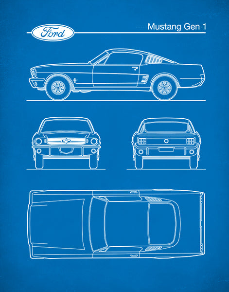 Ford Mustang Gen 1 Fastback, Auto Art, Patent Print, Ford Mustang Art, P472