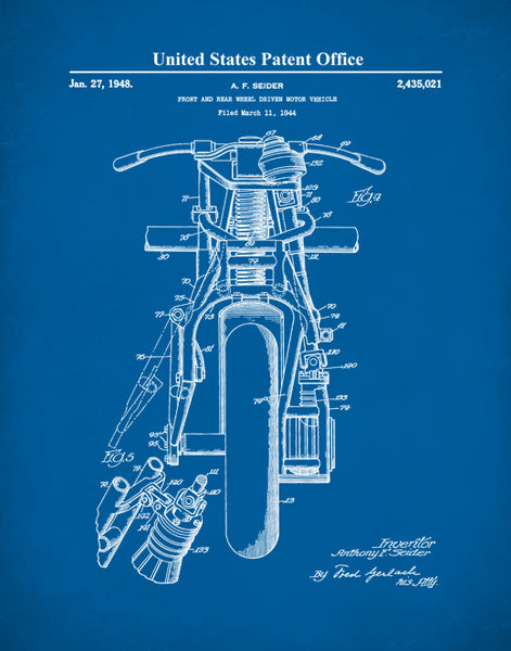 Indian Motorcycle Patent Print, Motorcycle Patent Art, Motorcycle Patent Poster, P495