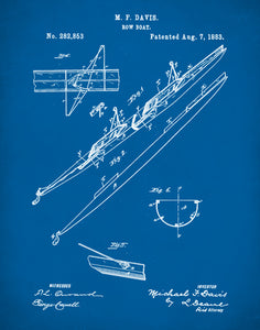 2 Man Rowing Scull Patent Poster, Rowing Patent Print, 2 Man Rowing Scull Art, P180