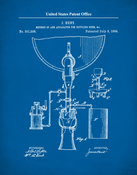 Beer Bottling Patent Print, Beer Apparatus, Sports Bar Décor, Beer Brewer Art, P630