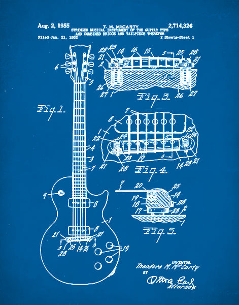 Gibson Les Paul Guitar, Patent Print, Gibson Les Paul Guitar Poster, Les Paul Guitar Art, P95