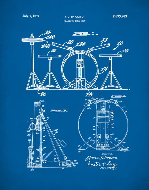 Drum Set Patent Prints, Drum Set Poster, Drum Set Art, P129