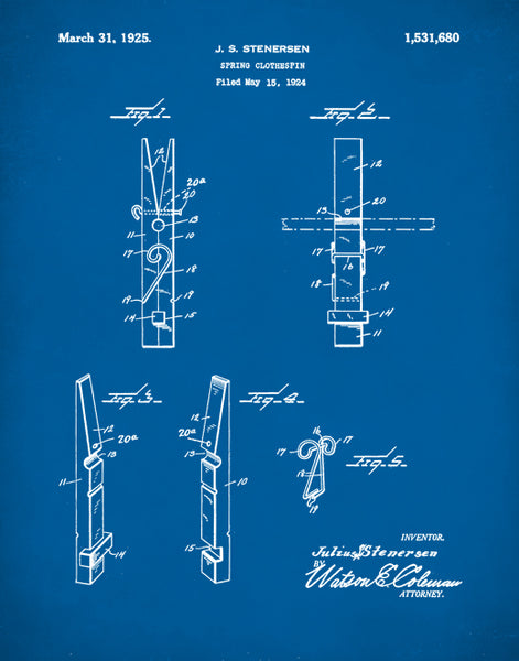 Clothespin Patent Print, Clothes Pin Poster, Kitchen Wall Art, Laundry Room Decor, P323