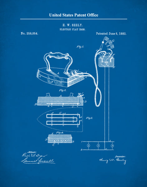 Electric Flat Iron Patent Print, Electric Flat Iron Poster, Kitchen Wall Art, P626