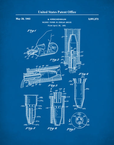 Patent Prints Whiskey Pour, Whiskey Poster, Whiskey Art, Whiskey Pourer, P514