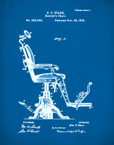 Dentist Chair Patent Print, Dentist Chair Poster, Dentist Chair Art, P104