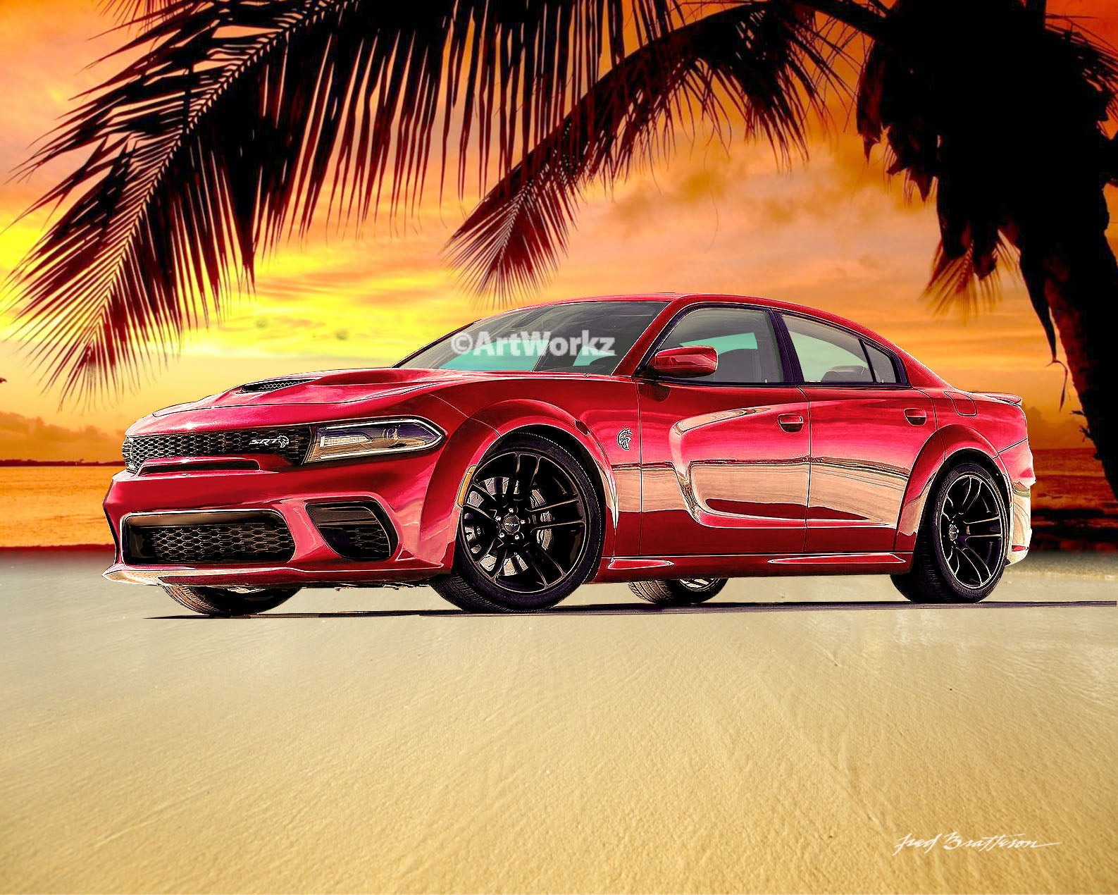 Dodge Charger Hellcat, 2020 Wide Body, Auto Art, Hot Rod Art, AW117