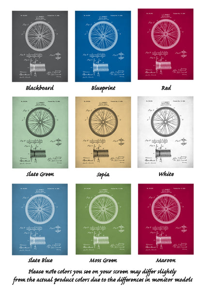 Bicycle Wheel Patent Print, Bicycle Patent Poster, Vintage Bicycle Wheel, Bicycle Art, P269