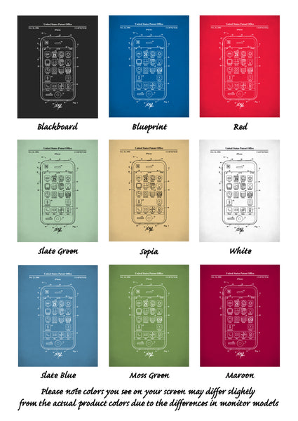 iPhone Patent Poster, Apple Patent Prints, Steve Jobs, Technology Art, P580