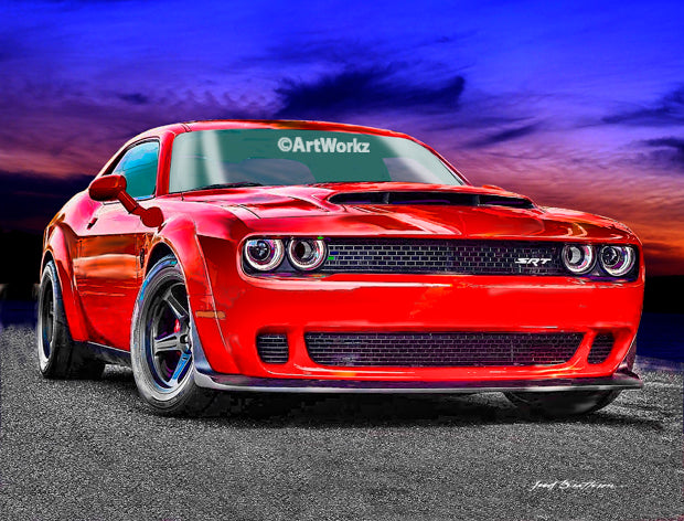 Dodge SRT Demon, Auto Art, Hot Rod Art, Tor Red, Muscle Car Print, Car Art, AW114