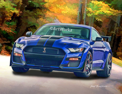 2020 Mustang Shelby GT 500, Auto Art, Pony Car, Hot Rod Art, Muscle Car, Car Art, AA118