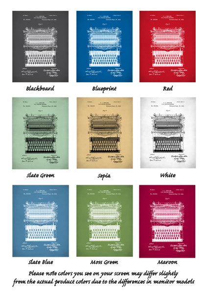 Typewriter Patent Prints, Typewriter Wall Art, Typewriter Poster, P86