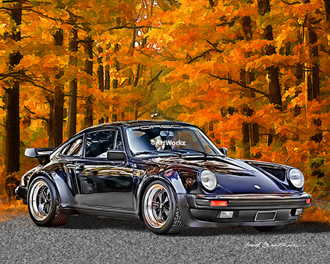 Porsche Turbo Coupe Print - Auto Art - Classic Car Print - Sports Car - AW46