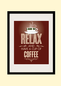 Kitchen Art Print, RELAX and have a cup of COFFEE, Stig Lindberg, AW7