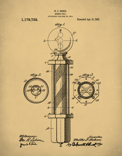 Barber Pole Patent Print, Patent Art, Patent Poster, Barbershop Wall Art, P130