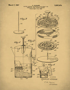 French Press Patent Prints, French Press Coffee Pot Poster, Kitchen Art, Coffee Pot Art, P174