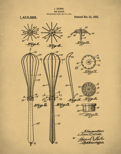 Food Wisk Patent Prints, Food Wisk Poster, Kitchen Art, Kitchen Decor, P70